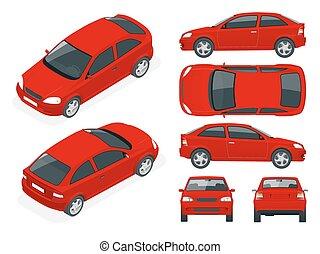 set, mal, auto, cars., vrijstaand, sedan, auto, het brandmerken, advertising.