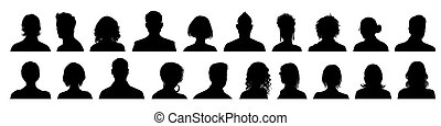 Set man and woman head icon silhouette. Male and female avatar profile sign, face silhouette logo ? stock vector