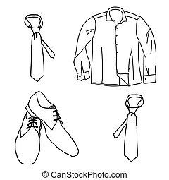 Set man clothes , shirt shoes tie.