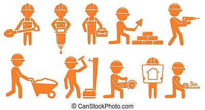 set man with tools for constuction