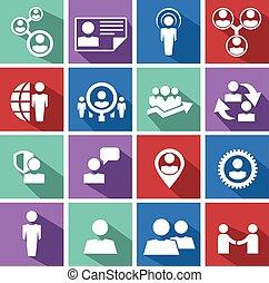 set., management, middelen, menselijk, iconen