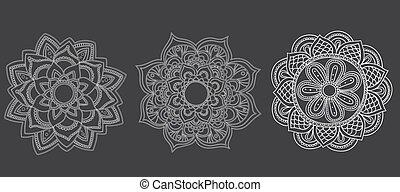 set mandalas on black background