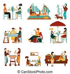 set, mangiare, persone, icone
