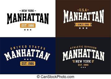Set Manhattan Typography Design For T-shirt
