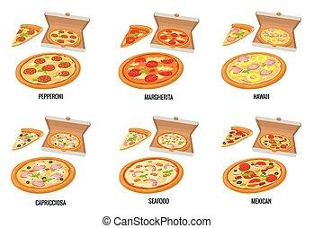 set, manifesto, aperto, web, frutti mare, isolato, capricciosa., menu, bianco, pizza, appartamento, box., illustrazione, hawaiano, pepperoni, fetta, opuscolo, margherita, messicano, vettore, icon., intero