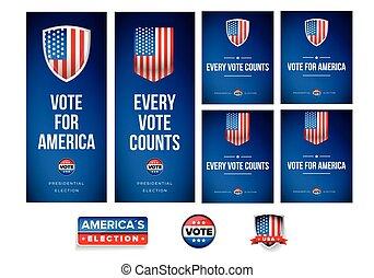 set, manifesto, elezione, bandiera, o, presidenziale