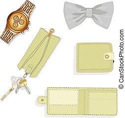 set., mannen, accessoires, illustration.