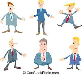 set, mannen, of, zakenlieden, karakters, spotprent