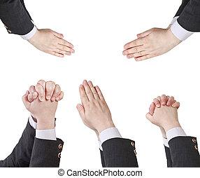 set, -, mano, mani, uomo affari, gesto, afferrato
