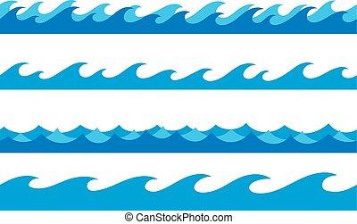 set, mano, onde, disegnato, profili di fodera, oceano, infinito