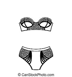 set., mano, panty, lingerie., dibujado, sostén
