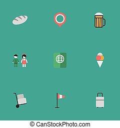 set, mano, vacanza, illustrazione, pub, semplice, synonyms, vettore, icons., paio, marchio, marchio, bag., altro, elementi