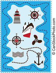 Set marine icon, Sailing and Sea, Vector collection