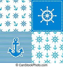 set marine wheel and anchor seamless