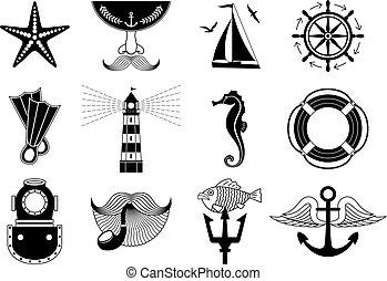 set, marino, icone