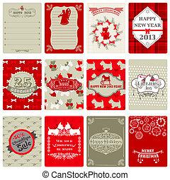 set, markeringen, ouderwetse , -, kerstmis, vector, ontwerp, plakboek, of