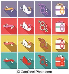 set, marzo, etichette, illustrazione, donne, topic, vettore, 8, internazionale, giorno, tesserati magnetici