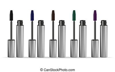 Set mascaras different colors isolated on white background. Vector illustration