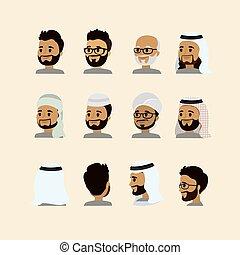set, maschio, faccia, musulmano, arabo, avatar