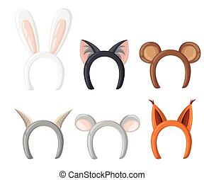 Set mask cat, rabbit, deer antler and ears. Isolated on white vector illustration Flat design style vector illustration.