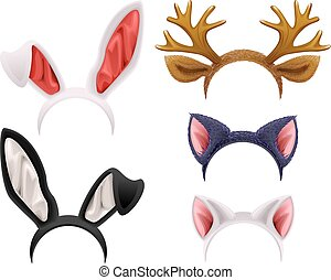 Set mask cat, rabbit, deer antler and ears. Isolated on ...
