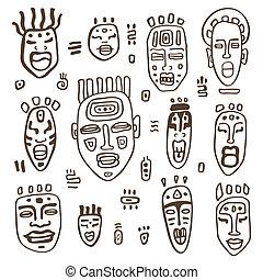 set., masken, afrikanisch