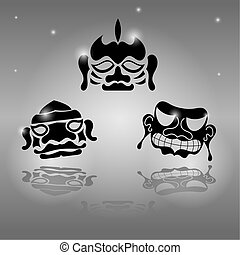 set, maskers, afrikaan