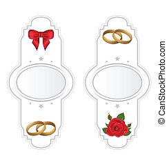set, matrimonio, cartelle, con, rosa, anello, arco