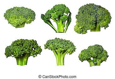 set, maturo, isolato, fondo., bianco, broccolo