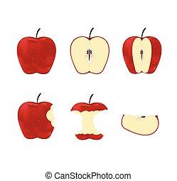 set, maturo, isolato, illustrazione, vettore, mele, fondo, bianco rosso