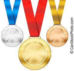 set, medaglie, isolato, oro, realistico, nastro, argento,...