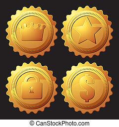 set, medaille, goud