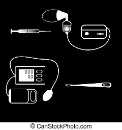 set medical devices syringe thermometer inhaler