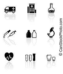 set medical icons with reflection