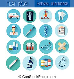 Set Medicine Icon Medical, Chemical Equipment Collection