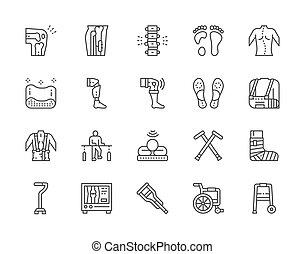 set, medisch, icons., orthopedic, lijn, rehabilitatie