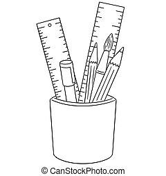 set, meetlatje, vector, penseel, pen, potlood