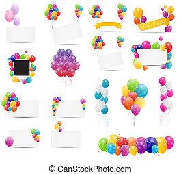 set, mega, colorare, illustrazione, vettore, lucido, palloni, scheda
