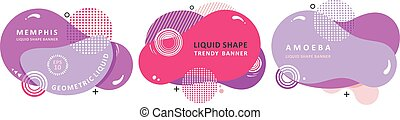Set memphis liquid shape modern concept. Mosaic amoeba design. Abstract colorful waves. Modern vector.
