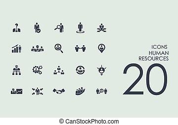 set, menselijke hulpbronnen, iconen