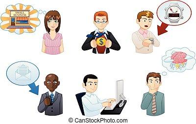 set, mensen, avatars, werkende , iconen