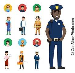 set, mensen, beroepen, iconen, karakters, spotprent