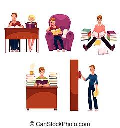 set, mensen, boekjes , studerend , bibliotheek, lezende