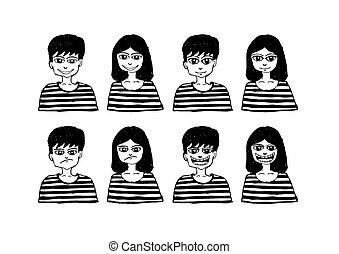 set, mensen, emoties, gevarieerd, gezichten, spotprent