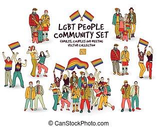 set, mensen, group., vrijstaand, gemeenschap, lgbt