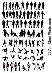 set, mensen, silhouette
