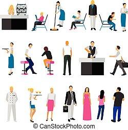 set, mensen, werknemers, restaurant, visitors., vrijstaand, vector, achtergrond, iconen, witte