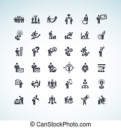 set, mensen zaak, iconen