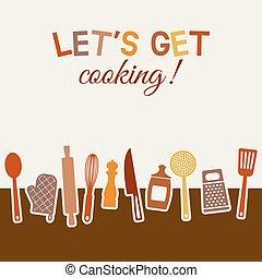 set, menu, ricetta, utensili, libro, design., o, cucina