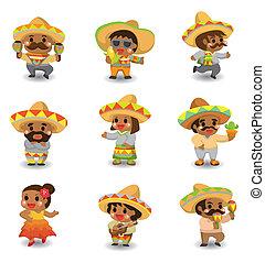 set, messicano, cartone animato, persone, icona